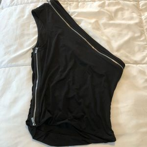 IAMGIA black and silver one shoulder tank top